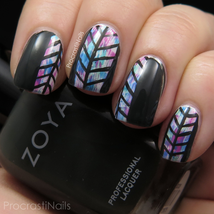 Herringbone and dry brush nail art with Zoya Noot and CND Vinylux Garden Muse shades