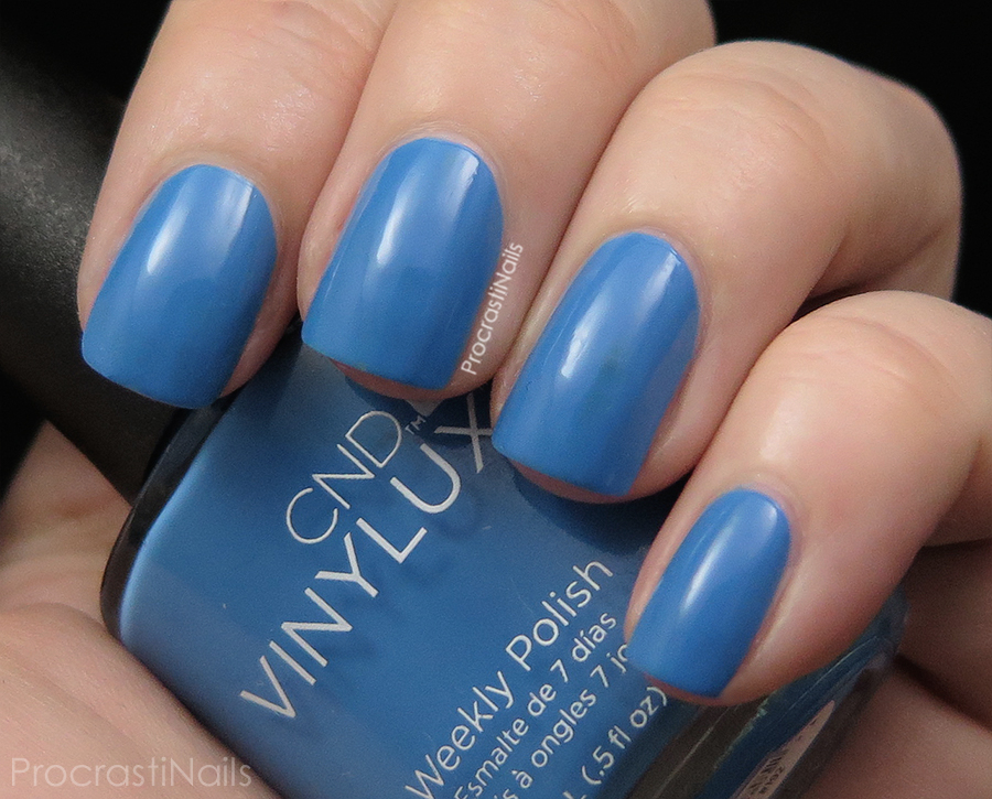 Swatch of Reflecting Pool a sky blue creme nail polish