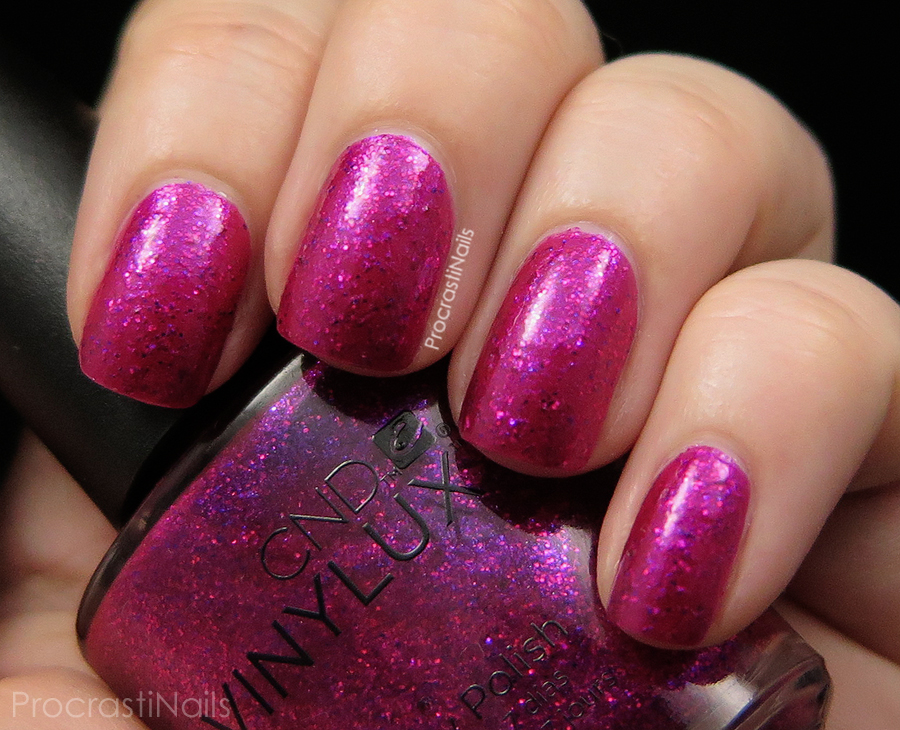 Swatch of Butterfly Queen a magenta pink full coverage glitter nail polish
