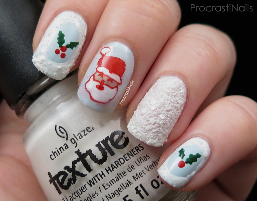 Skittlette nail art with a stamped Santa and textured polish
