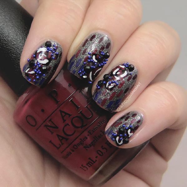 Vampy roses and microbeads nail art
