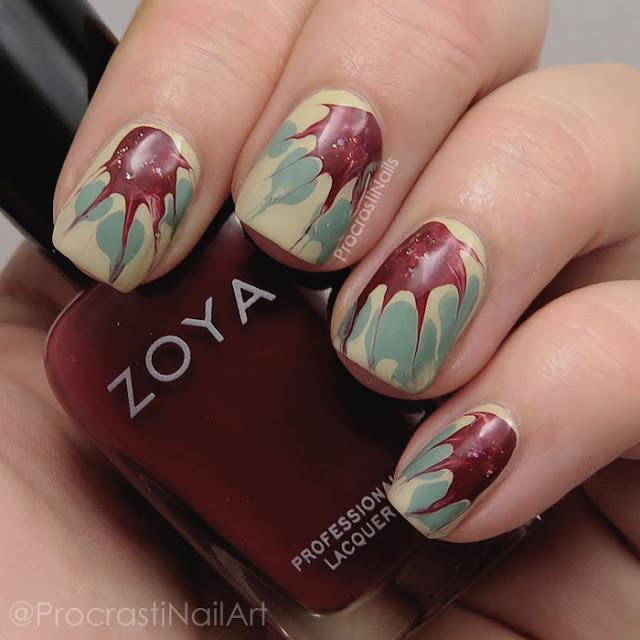 Needle Drag Poinsettia Nail Art with Zoya Nail Polish