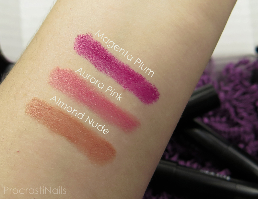 Swatches of Julep Plush Pout Lip Crayons in Magenta Plum, Aurora Pink and Almond Nude
