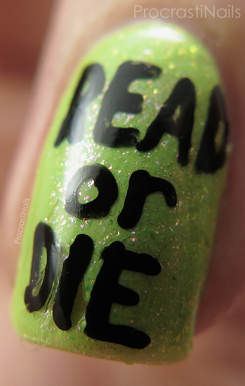 Nail art that says Read or Die for School Librarian Day