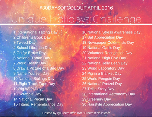 30 Days of Colour Challenge for April 2016 Prompts