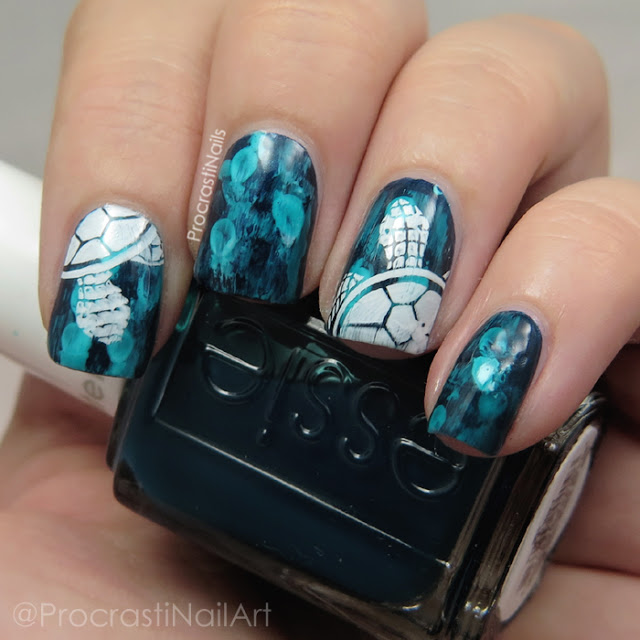 Sea turtle nail art with stamping and dry brushing