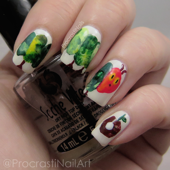 Nail art of The Very Hungry Caterpillar Nails for Children's Book Day