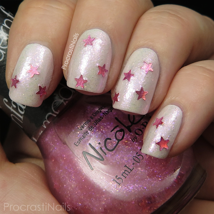 Swatch of Nicole by OPI She's Lily Something over OPI My Boyfriend Scales Walls