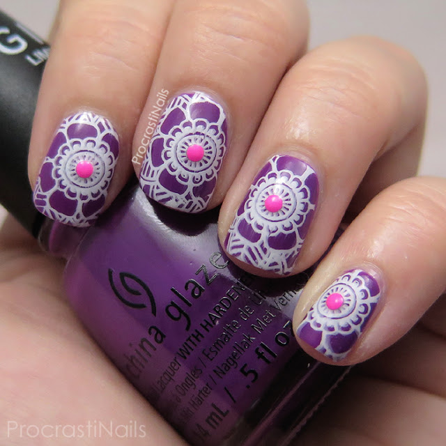 Stamped nail art with the bright purple China Glaze Givers Theme as the base