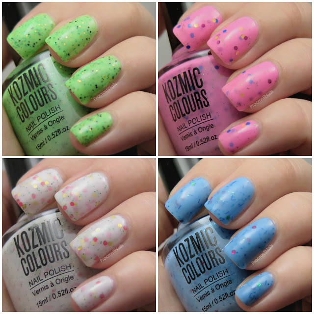 Swatches of Kozmic Colours Glitter Crelly Polishes