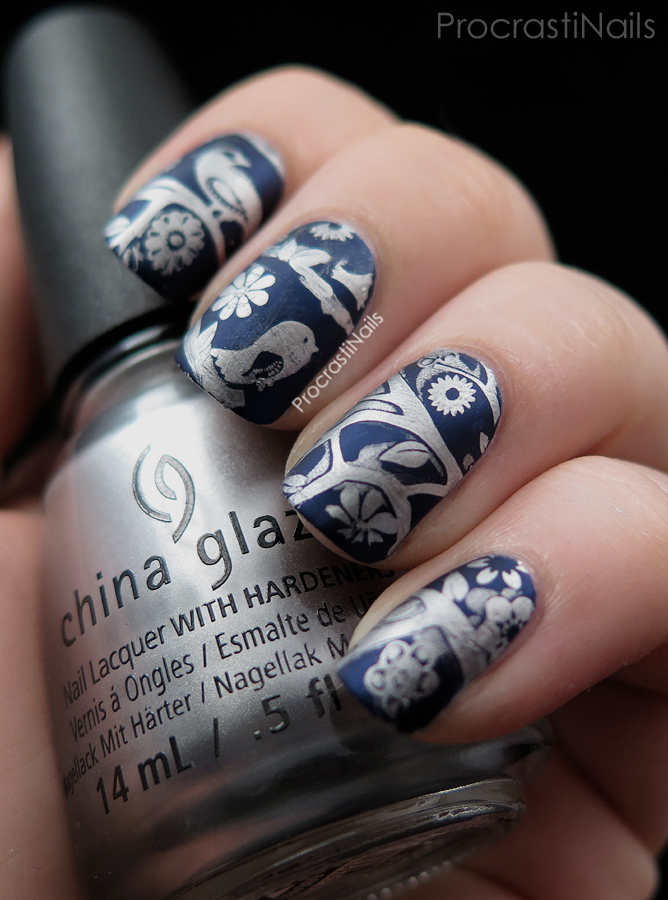 Silver and dark blue matte stamping with MoYou London Mother Nature 02 Plate