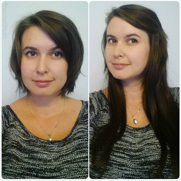 Before and after with Irresistible Me Royal Remy Medium Brown Clip-in Hair Extensions