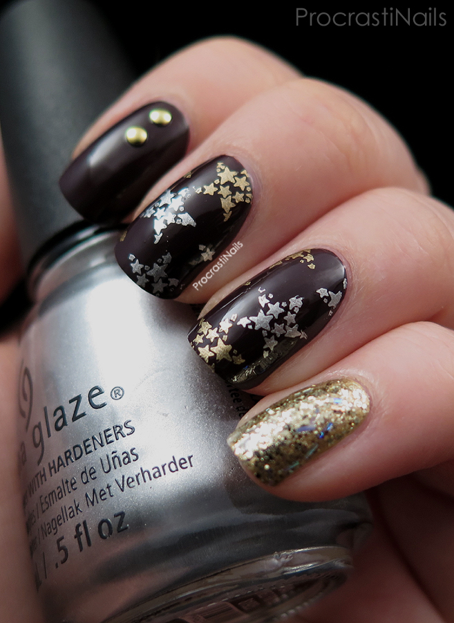 Holiday nail art with stamped stars, glitter and studs using China Glaze and Maybelline New York nail polish and Cheeky plate CH52