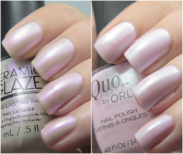 Comparison of Ceramic Glaze Heavenly and Quo by ORLY Always Chic