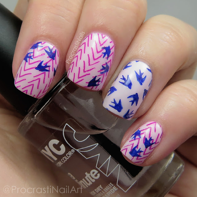 Nail art using pink and blue polish from Mundo de Unas and a MoYou London Hipster 07 design