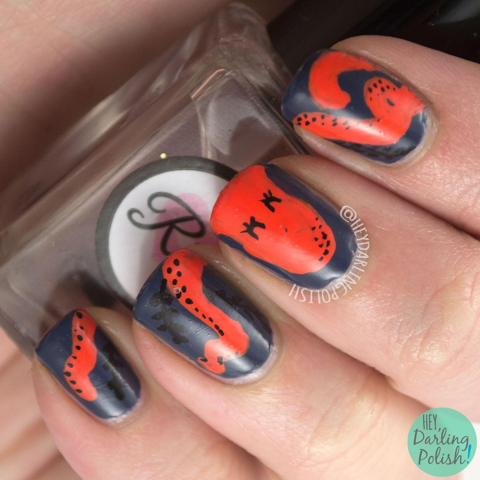 nails, nail art, nail polish, octopus, hey darling polish, pattern, guest post