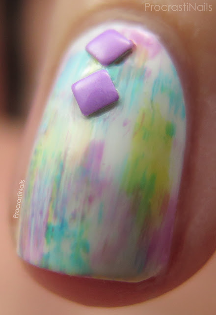 Macro picture of dry brush nail art with the Essie Silk Watercolors