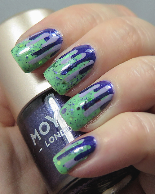 Dripping Purple Goo Nail Art with MoYou London and Fiendish Fancies