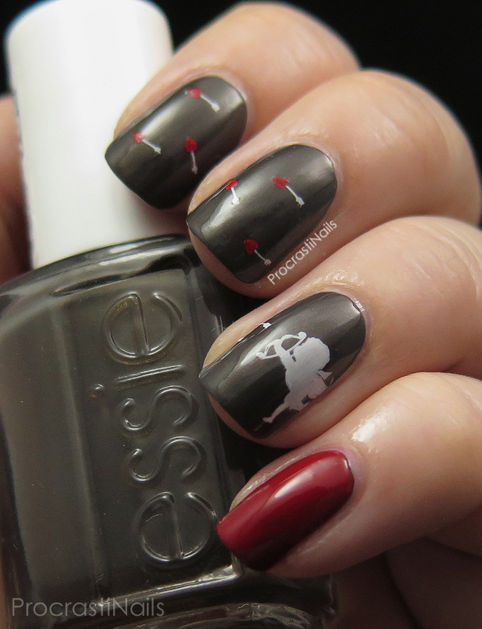 Valentine's Day stamped cupid nail art using Bundle Monster plate H17